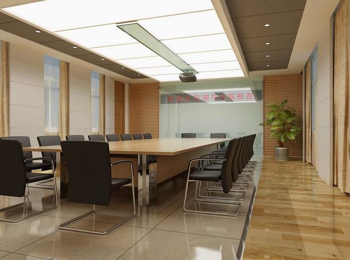 现代 小会议室现代办公室效果图 办公室手绘效果图