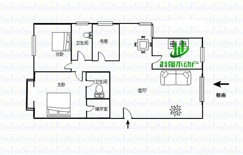 100平方米设计图套房