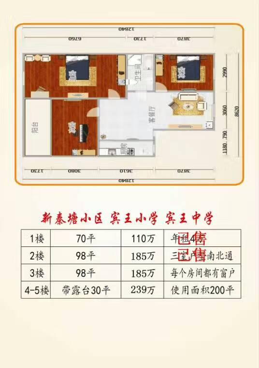 【亚和认证房】新秦塘宾王双学区房  顶楼楼中楼  带露台
