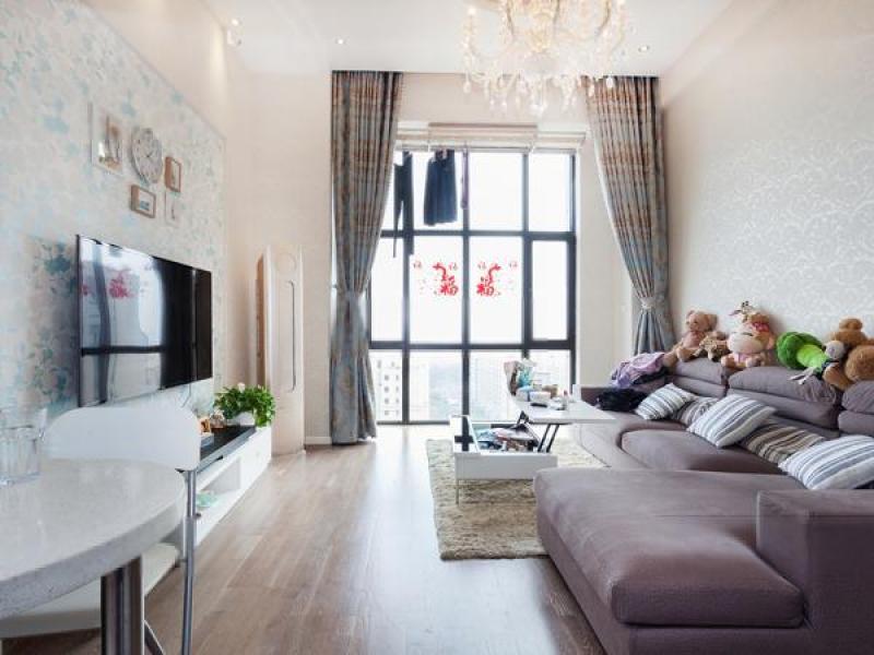 万达公寓确权42平户型正气年轻时尚观景房落地大飘窗视野采光好