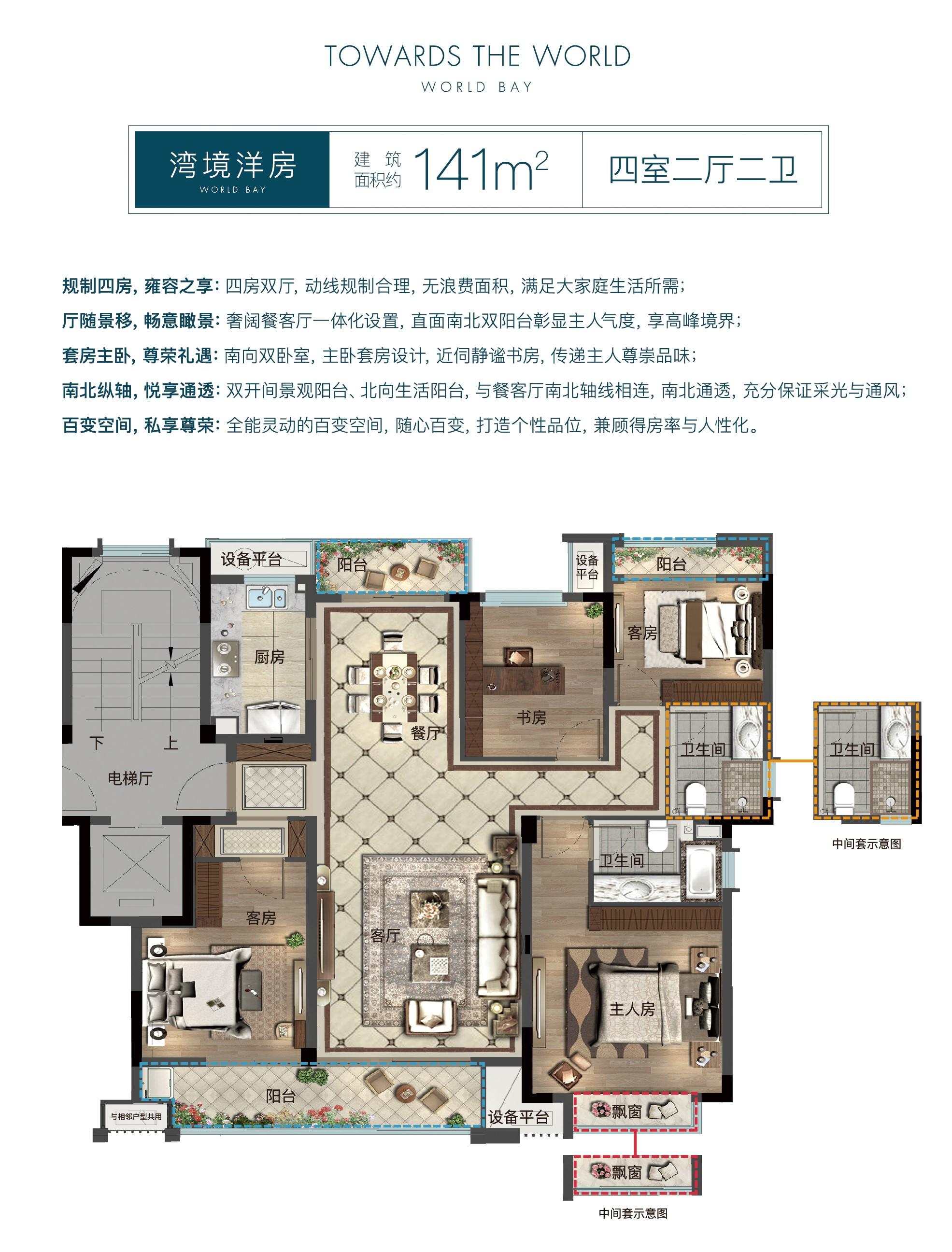 义乌世界江湾  141平  四室 洋房  楼王品质